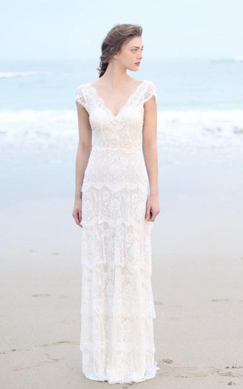 Plunged Sheath Cap-Sleeve Tired Boho Style Wedding Dress And Deep-V ...