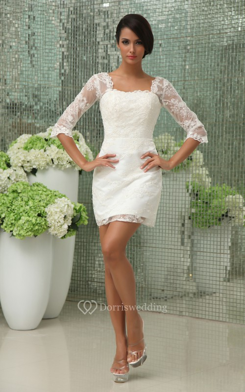Vintage Half-Sleeve Short Dress With Lace Overlay