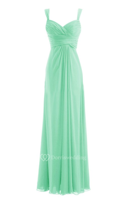 Straps Sweetheart Ruched Chiffon A-line Dress