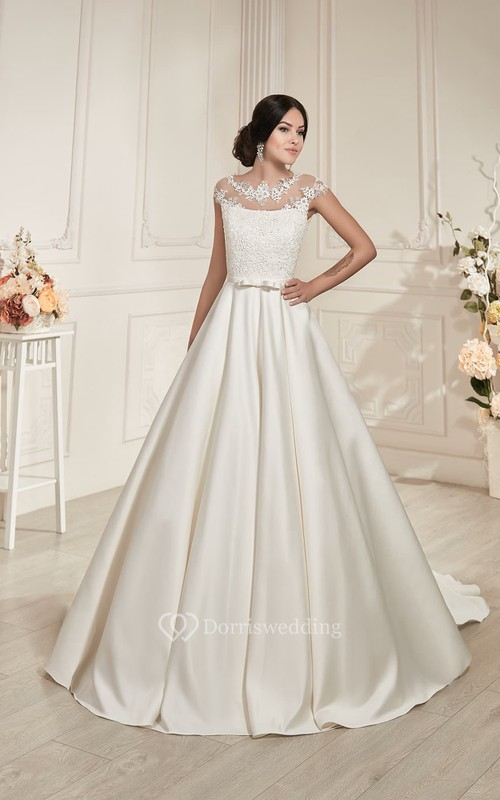 A-Line Long Jewel-Neck Cap-Sleeve Illusion Satin Dress With Appliques