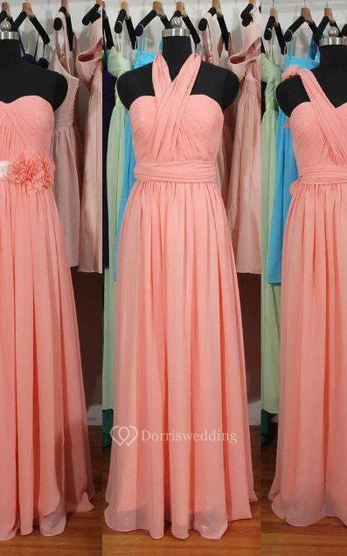 Simple A-Line Chiffon Convertible Bridesmaid Gowns Ruffles Evening ...