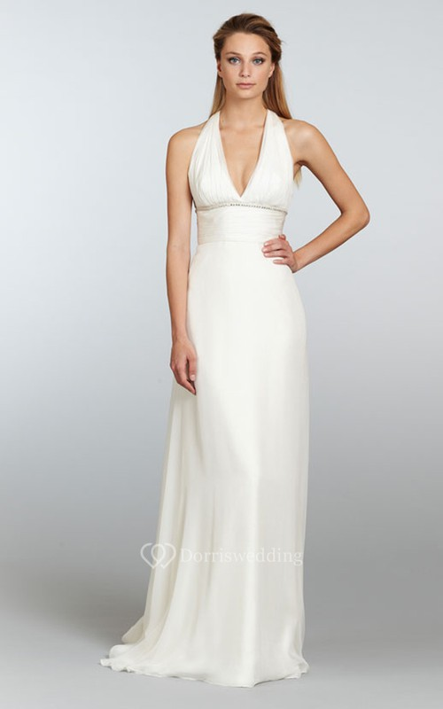 Shimmering Ruched Bodice Chiffon Sheath Dress With Beaded Empire Waist