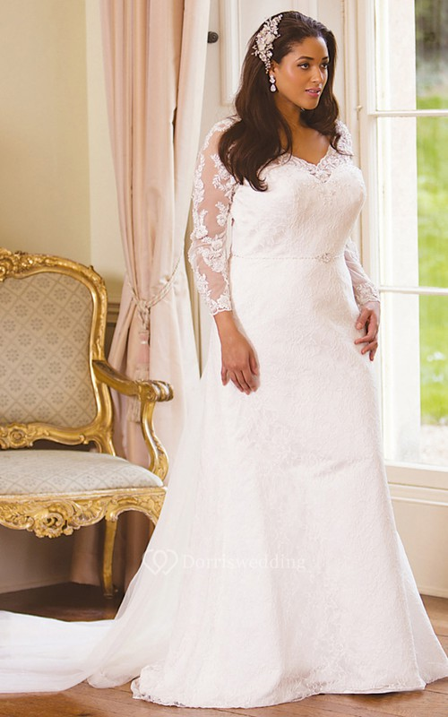 Long Sleeve Floor Length V Neck Lace Plus Size Wedding Dress With
