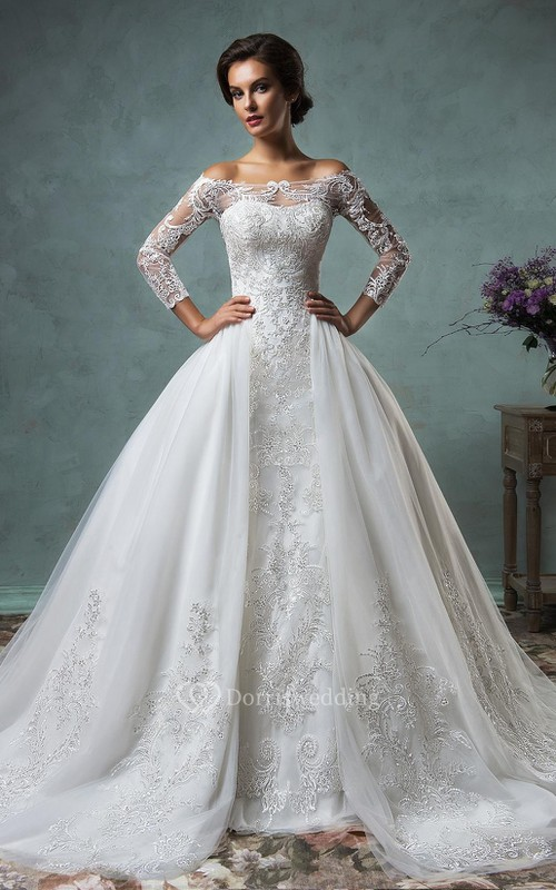 A-Line Off-The-Shoulder Long Sleeve Court Train Tulle Lace Wedding ...