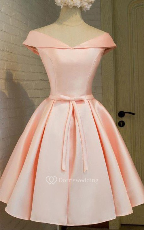 Ball Gown Short Sleeve Satin Off-the-shoulder V-neck Lace-up Tea-length Homecoming Dress