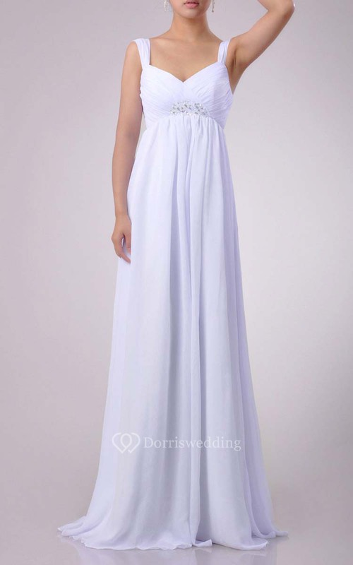 Floor-length Sweetheart Empire Chiffon Dress With Beading