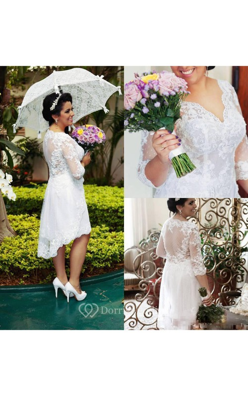 Hi Lo Vintage Plus Size Lace A Line Half Long Sleeves Illusion Bodice Bridal Garden