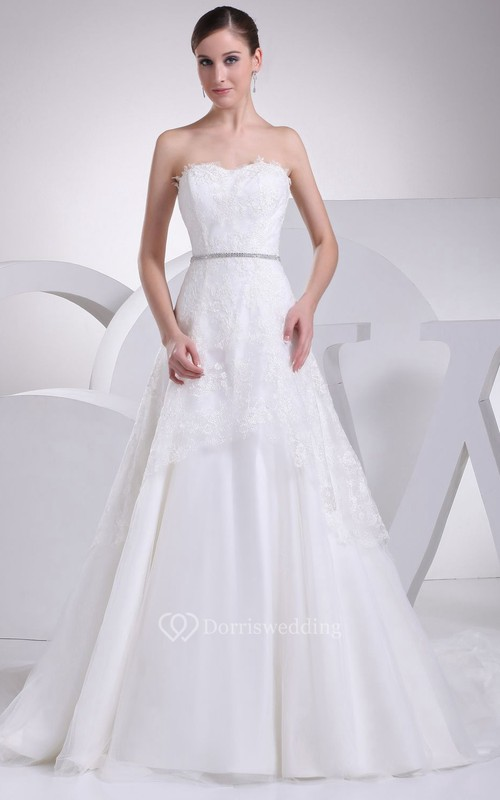 Sweetheart A-Line Ball Gown With Beaded Waist and Lace Appliques