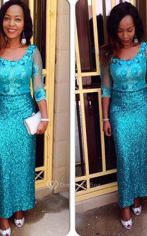 Glamorous Sequins Half Sleeve Evening Dress Floor Length