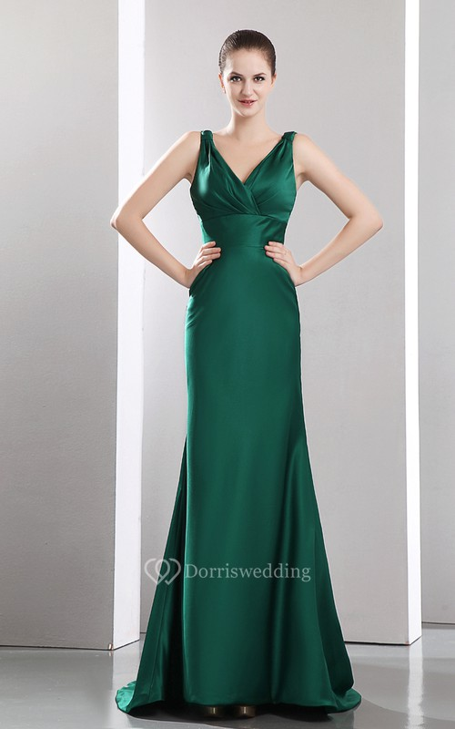 Deep V-Neck Satin Dress With Sweep Train