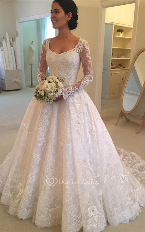 Luxury Lace and Tulle Illusion Sleeve Ball Gown Wedding Dress