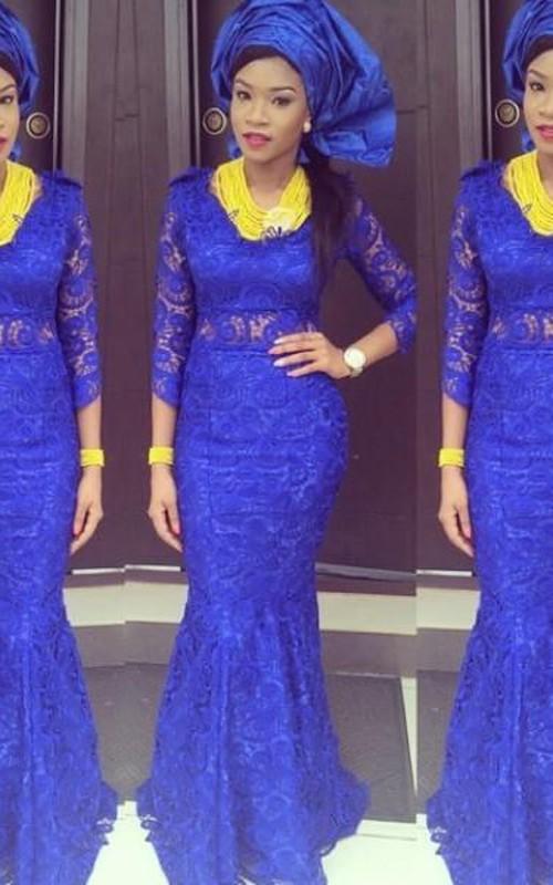 Gorgeous Royal Blue Lace Mermaid Evening Dress Long Sleeve - Dorris ...