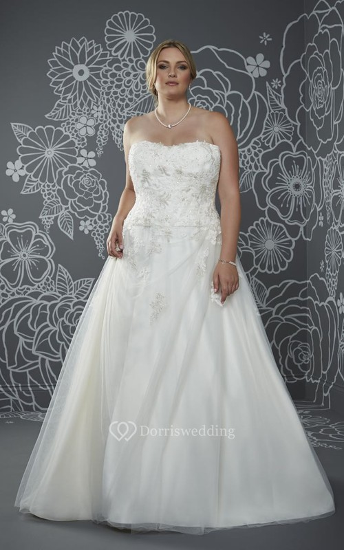 A-Line Floor-Length Strapless Sleeveless Satin Court Train Lace-Up Back Appliques Dress