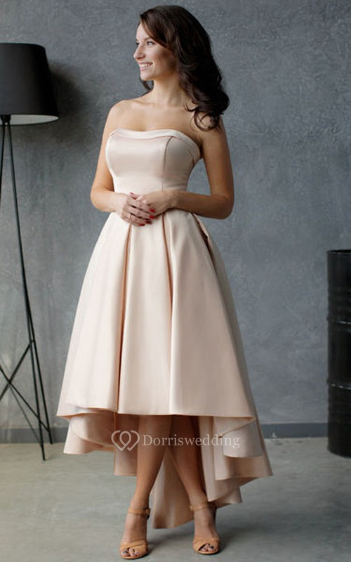 A line high low strapless sleeveless satin pleats ruffles for High low wedding guest dresses