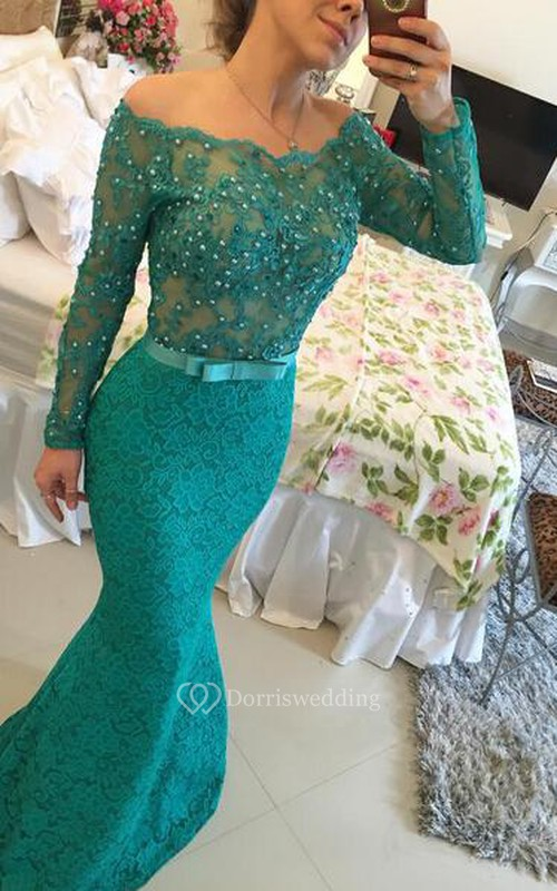 Modern Long Sleeve Lace Mermaid Prom Dress 2018 Pearls Off-the ...