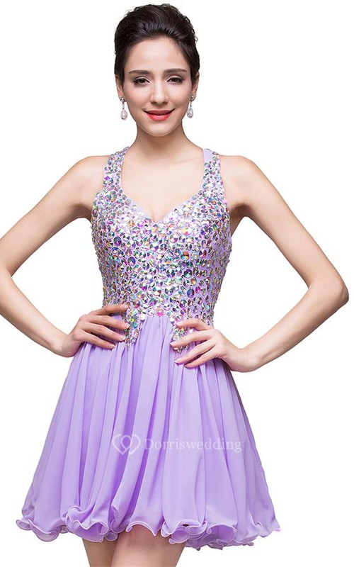 Gorgeous Halter Sleeveless Homecoming Dress 2018 Short Tulle With Crystals
