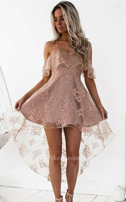 A-line Sleeveless Lace Spaghetti Cross Back High-low Homecoming Dress