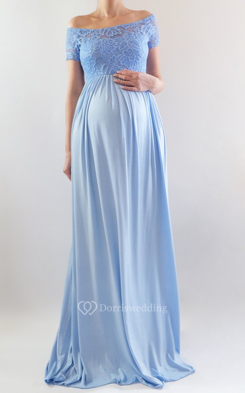 A-line Illusion Short Sleeve Empire Maternity Dress