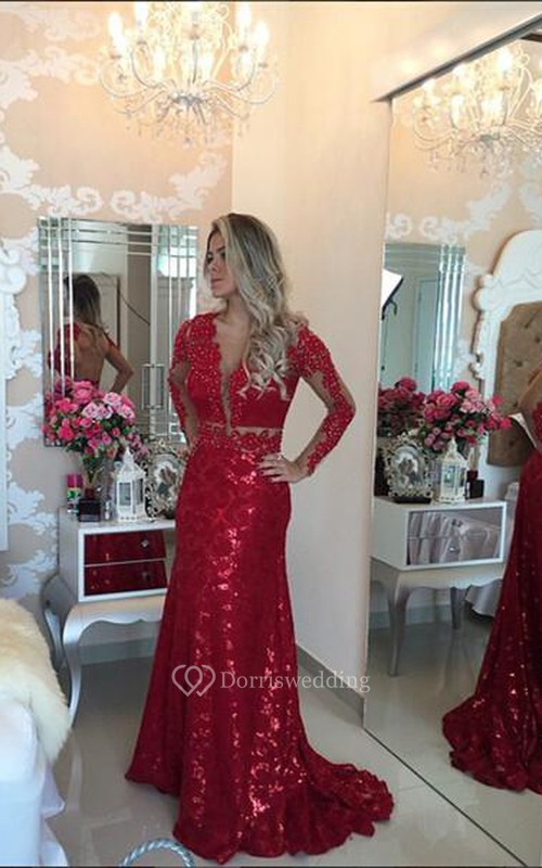 Glamorous Red Mermaid Sequins Prom Dress 2018 Lace Appliques Backless