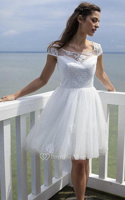 Knee-length Tulle Cute Dress With Keyhole And Illusion Lace