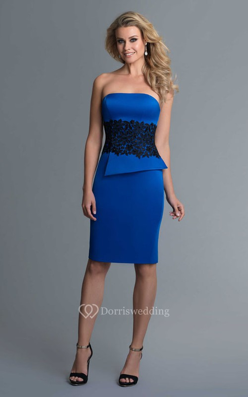 Pencil Knee-Length Strapless Satin Zipper Dress With Appliques And Split Back