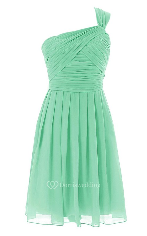 One-shoulder Ruched A-line Short Dress With Zipper Back