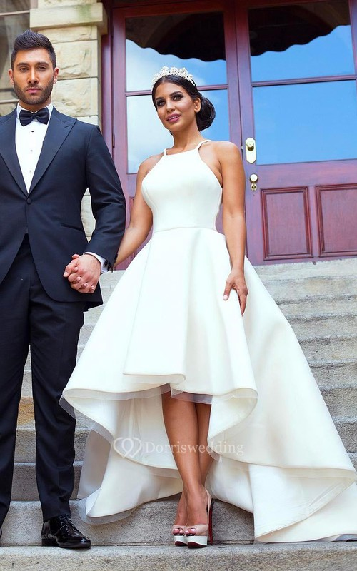 Simple Hi Low Halter Neck Satin A-Line Sleeveless Bridal Gown ...