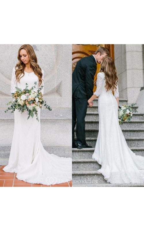 Country Style Vintage Modest Bohemian Lace Chiffon Wedding Gown With ...