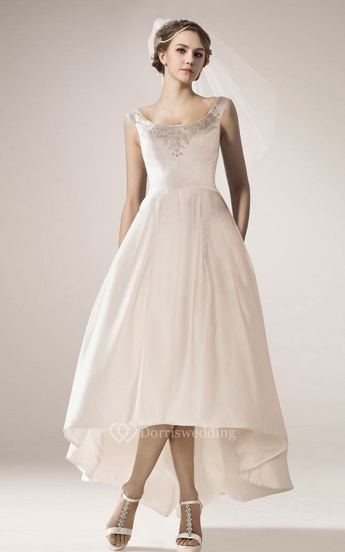 Vintage style high low wedding dress with beaded neckline for Beaded vintage style wedding dresses