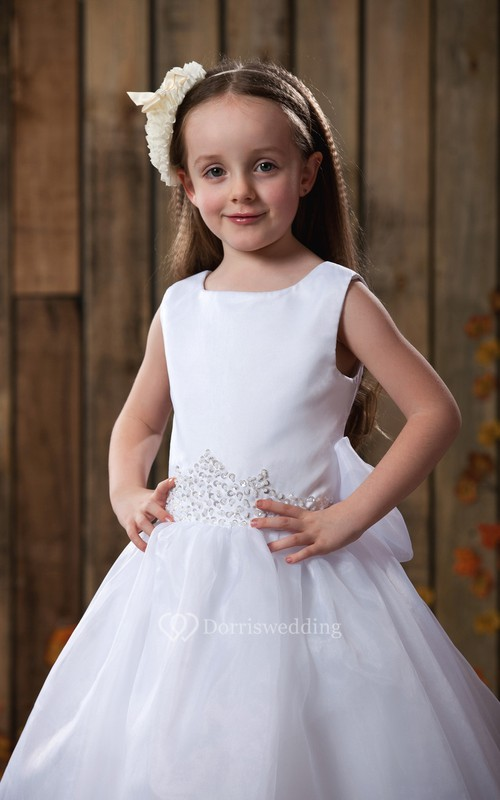 Square-Neck Beaded A-Line Flower Girl Dress With Bowknot