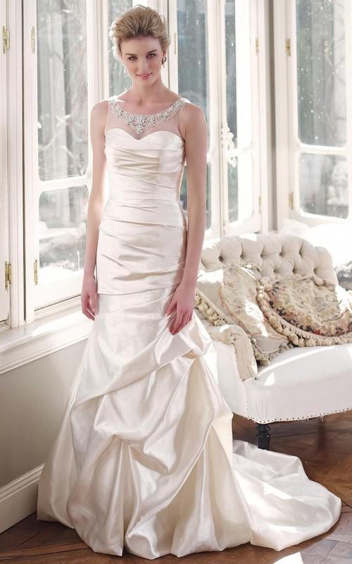 A-Line Scoop Sleeveless Floor-Length Beaded Satin Wedding Dress With ...