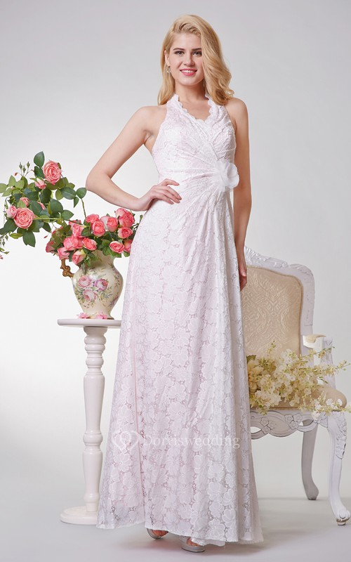 Scalloped-Edge Neckline Ruched Long Lace Dress