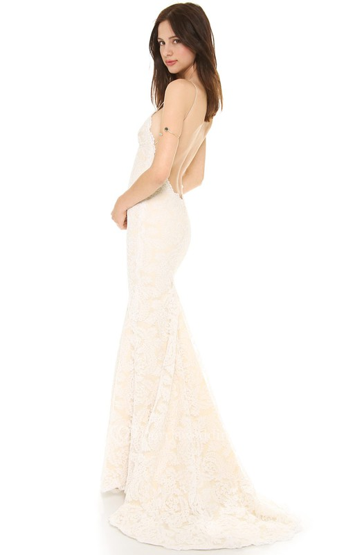 Long Sheath Lace Dress With Deep-V Back Style and Spaghetti Straps