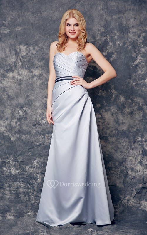 Sweetheart Long Satin Empire Dress With Ruching