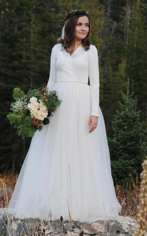 Floor-Length Long Sleeve Tulle Wedding Dress - Dorris Wedding