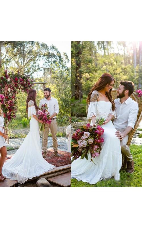 Short Sleeve Lace Boat Neck Appliques Count Train Bohemian Wedding ...