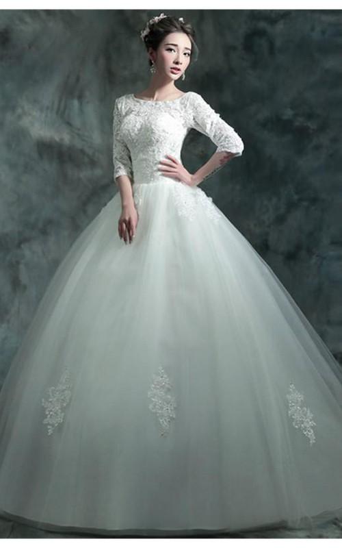 Modern Lace Appliques 3-4-Long Sleeve Wedding Dress 2018 Sweep Train ...