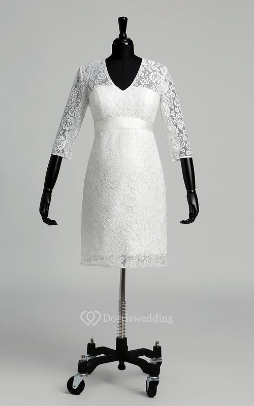 A-line V-neck Illusion 3/4 Length Sleeve Knee-length Lace Maternity Wedding Dress