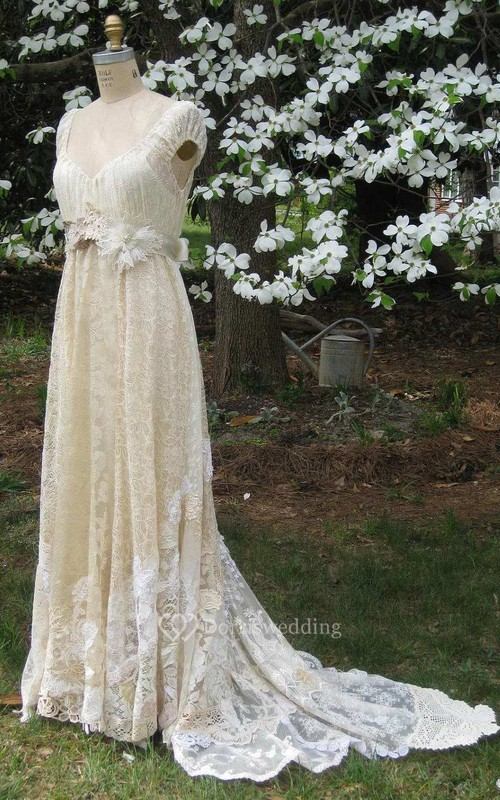Cap-Sleeve Deep-V-Neck Vintage Lace Wedding Dress With Flower And Sweep Train