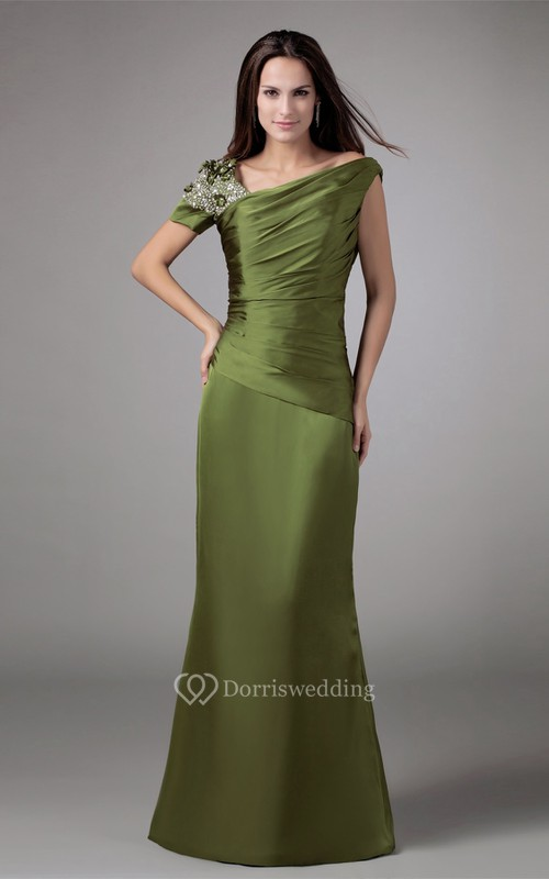 Asymmetrical Mermaid Satin Rhinestone and Gown With Ruching