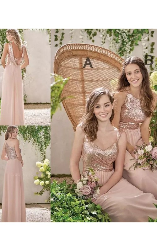 Halter V-neck A-line Floor-length Sleeveless Chiffon Sequins Bridesmaid Dress with Zipper Back