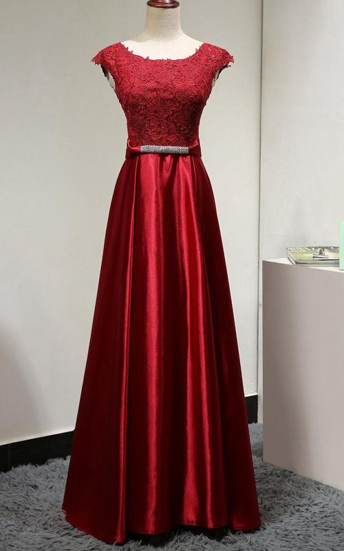 48bd20bdcb9 Scoop Neck Cap Sleeve Lace Bodice Satin A-line Long Dress With U Back