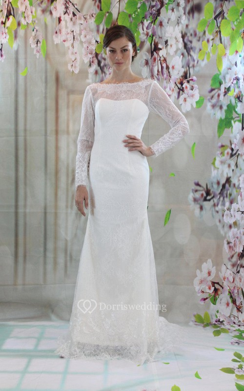 Column long sleeve bateau neck lace dress with low v back for Wedding dresses over 50 years old