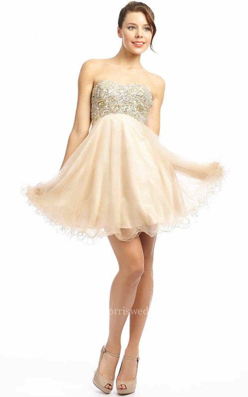 A-Line Mini Beaded Sleeveless Sweetheart Tulle Prom Dress