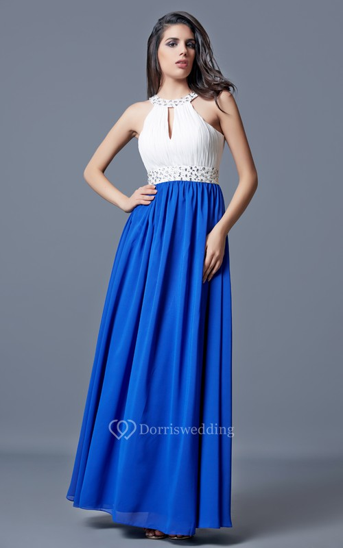 Beaded Neckline and Waist Long A-line Chiffon Dress