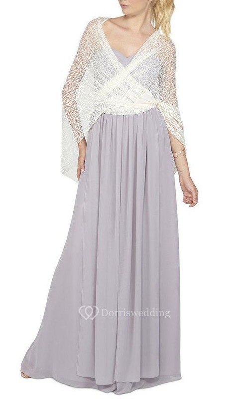 Sweetheart Ruched Floor-length Chiffon Dress with Lace Cape