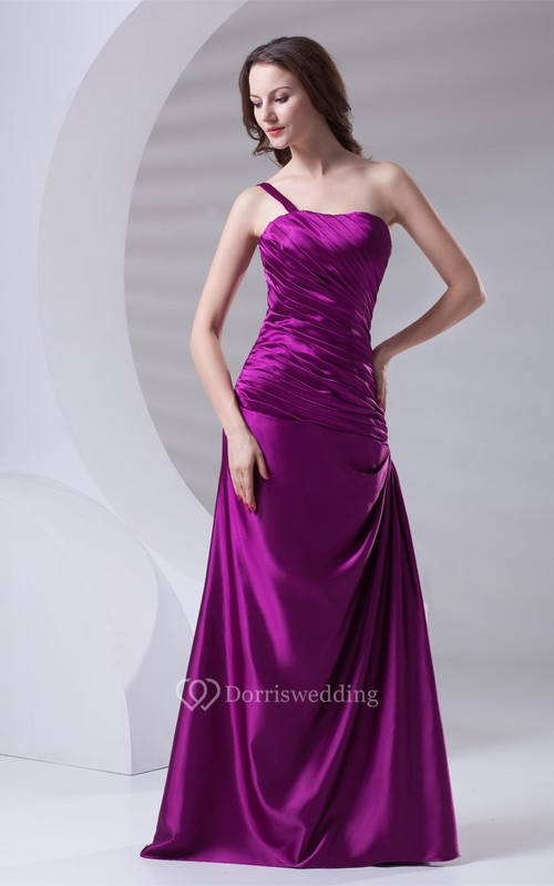 Satin A-Line Floor-Length Ruched Dress With Single-Strap Design