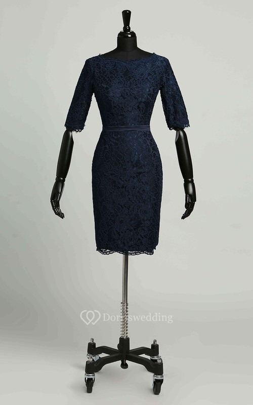 Bodycon 3-4 Length Sleeve Knee-length Zipper Vintage Lace Dress with Lace