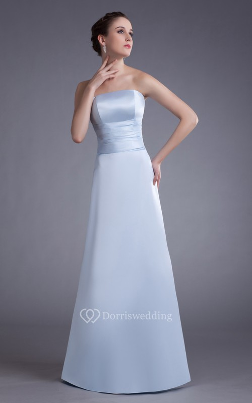 Simple Satin Floor-Length Dress With Ruching Waist