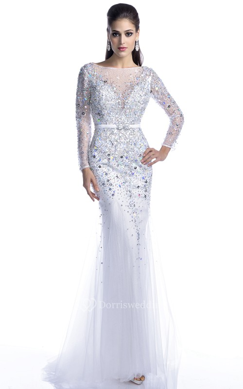 Long Sleeve Trumpet Tulle Prom Dress With Keyhole Back And Bling ...